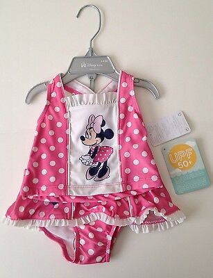 Disney Store Girls Minnie Mouse 2-PC Pink Tankini 6-9 Months