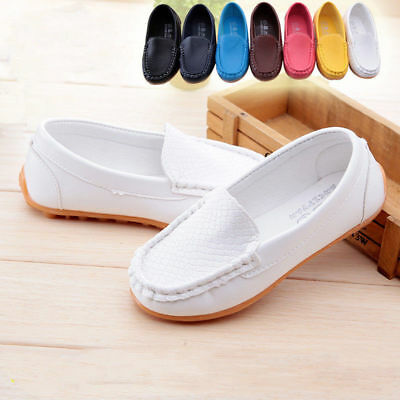 Kid Boys Girls Soft Loafers PU Oxford Flats Casual Slip On Toddler Boat  Shoes