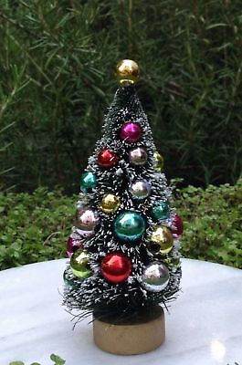"4½"" Green w Frost & Beads Sisal Bottle Brush CHRISTMAS TREE ~ Snow Village Putz"