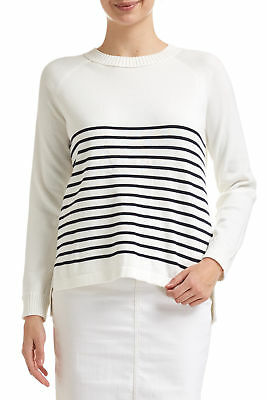 NEW Sportscraft Womens Breton Stripe Jumper Cotton Cardigans - Long Sleeve Tops