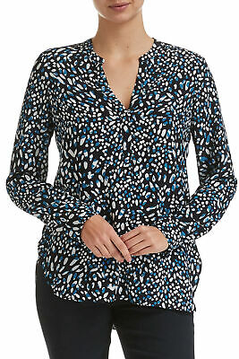 NEW Sportscraft Womens Grier Top Blouse Viscose Fabric Floral - Mid Navy/Teal