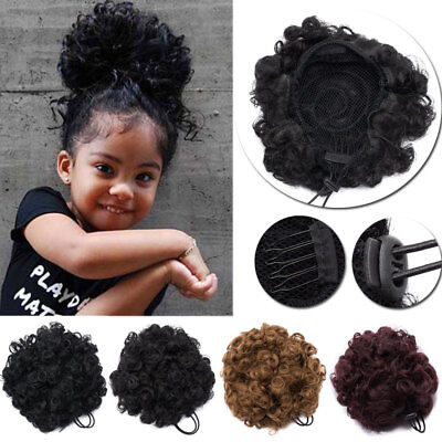 Afro Ponytail Puff Drawstring Synthetic Curly Hair Extension Bun
