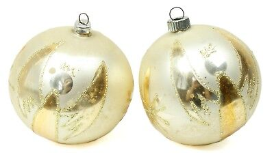 Vintage Gold White Glitter Angel West Germany Glass Ball Lot Christmas Ornament