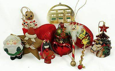 Vintage Red Wood Gold Santa Fabric Christmas Ornament Holiday Decoration Lot
