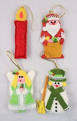 Fabric Santa Angel Snowman Candle Lot of 4 Christmas Ornament Holiday Decoration