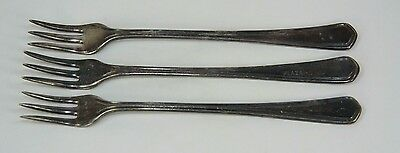 """Lot of Three 3 Antique 6"""" Avon Plate Vintage Cocktail Forks from the Plaza Hotel"""