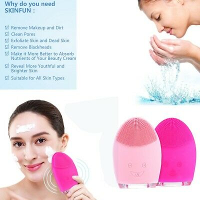 Electric Face Facial Cleansing Brush Rechargeable Silicone Cleanser Skin Care AU