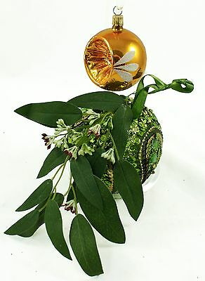 Vintage Gold Green Ball Leaves Sequin Christmas Ornament Holiday Decoration Lot
