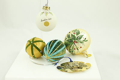Vintage Green & Gold Themed Christmas Ornament Holiday Tree Decoration Lot