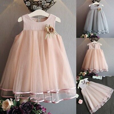 AU Kid Princess Baby Flower Girl Dress Lace Tulle Party Gown Bridesmaid Dresses