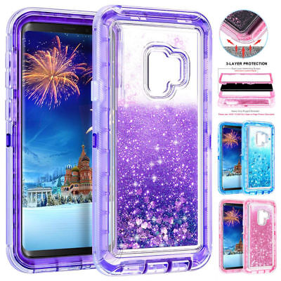 For Samsung Galaxy Note10 S8+ 360° Flowing Liquid Bling Glitter Phone Case Cover