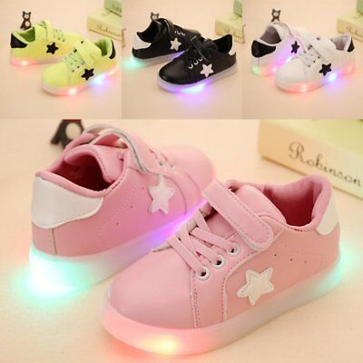 Kids Baby Toddler Flash LED Light Up Shoes Sneakers Boys Girls Luminous  Trainers 373253f53