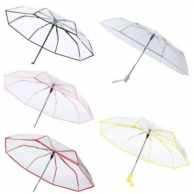 Pro Transparent Automatic Open Folding Clear Rain Umbrella Compact Windproof AU