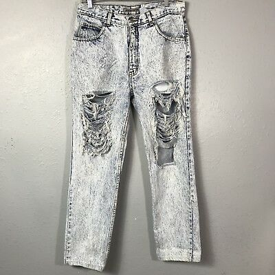 Jordache Vintage High Waisted Acid Wash Distressed Tapered Mom Jeans Size 33