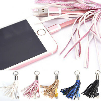 Leather Tassel USB Cable Metal Ring Key Chain Charging Data Cord Charger Wire ZT