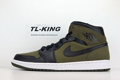 Nike Air Jordan 1 Retro Mid Olive Canvas Black White 554724 301 Msrp $110 CO