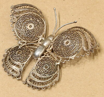 Vintage Mexico Sterling Silver Filigree Butterfly Pin Brooch 924D-37