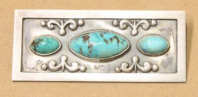 Vintage Mexico Sterling Silver Turquoise Pin Brooch 924D-28