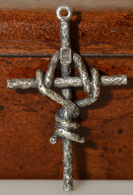 Vtg Sterling Silver Barbed Wire Wrapped CROSS Pendant~Biker~Rocker~Outstanding