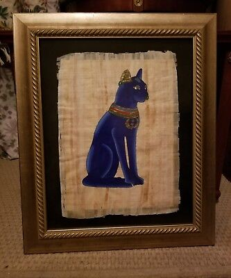 """Framed EGYPTIAN Hand Painted Genuine PAPYRUS of BASTET the CAT GODDESS 21""""x 25"""""""