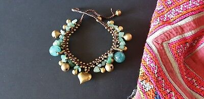 Old Tibetan Jade Charm Bracelet with Woven Cord …beautiful accent / collection..