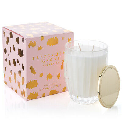NEW Peppermint Grove Coconut & Lychee Candle 350g