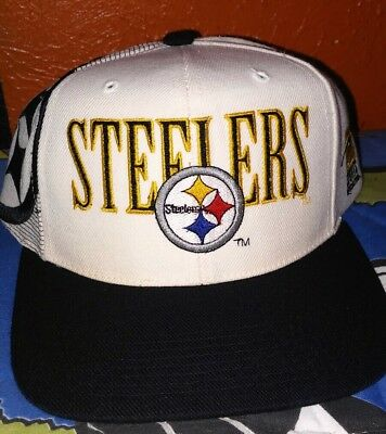 Vintage Pittsburgh Steelers Sports Specialties Laser Snapback Hat Cap 90 s  NFL 5a35e2105d9