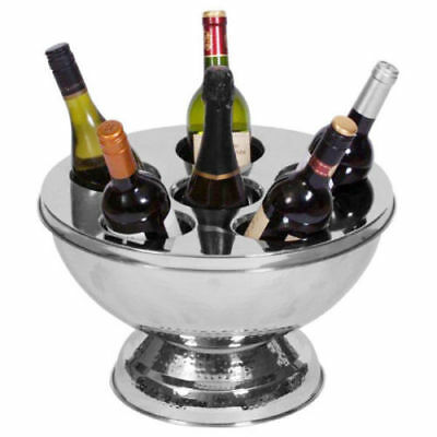 Stainless Steel Hammered Bowl Bucket Champagne Wine Bucket Container Ice w/ Lid