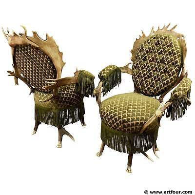 two rare antler parlor armchairs, austria ca. 1880