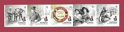 """2018 Australian """" Ww1 Centenary """" S/a Strip Of 5 From A Booklet ~ Mint Un Hinged"""
