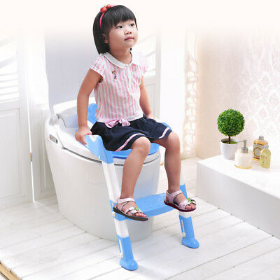 Seat Adjustable Child Baby Toddler Potty Training Step Toilet Ladder Chair