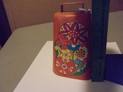 Vintage 1960S Cow Bell Decoration From Mexico In The 1960S? Orange N Groovy Man