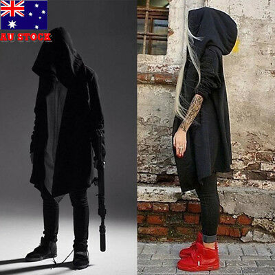 AU Men's Long Cloak Cape Coat Loose Hoodie Jackets PunK Trench Gothic Cosplay