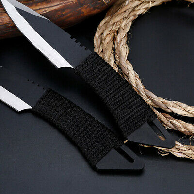 3pcs Pocket Fixed Tactical Straight Blade Knife Survival Hunting Camping Sheath
