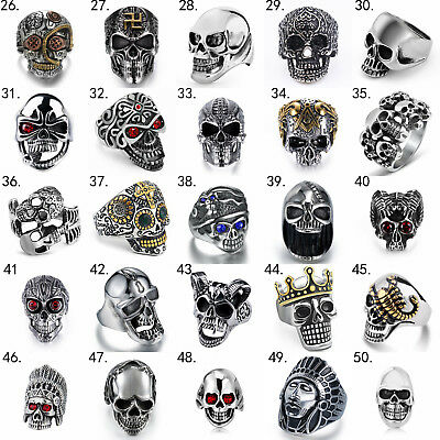 Fashion Men's Stainless Steel Silver Punk Biker Finger Rings Jewelry Cool Gothic