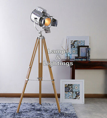 Hand Crafted Studio Floor Lamp Nautical Marine Search Light with Wooden Tripod