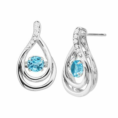 Natural Blue Topaz & Created White Sapphire Floater Earrings in Sterling Silver