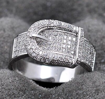 Shiny Silver Plated White Topaz Ring Wedding Bridal Women Jewelry Gift Size 6-10