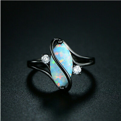 White Fire Opal 925 Silver Black Gold Filled Women Jewelry Ring Size 6-10