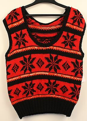 SMALL, 1970's RED & BLACK WOOL, MENS PULL OVER. ORIGINAL VINTAGE.