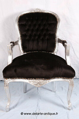 LOUIS XV ARM CHAIR FRENCH STYLE CHAIR VINTAGE FURNITURE BLACK VELVET silver wood