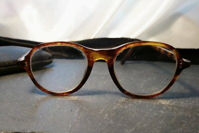 Vintage 1930's spectacles, round frame, original case, faux tortoiseshell
