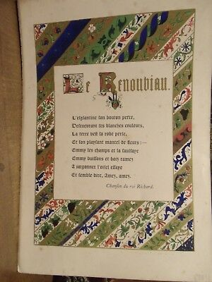 Illuminated late 18th Century French Poem leaf THE RENEWAL KING RICHARD'S SONG