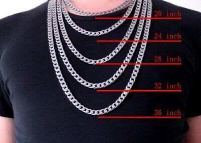 Mens 18-24 inch Stainless Steel Silver Curb Link Chain Necklace 12/8/6mm N110 UK