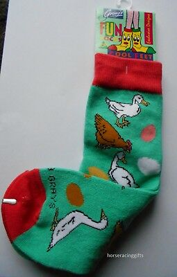 Happy Chicken & Ducks with Eggs Girls Socks  Age 4-7 New F R Gray