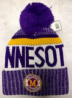 e97b18e5008 MINNESOTA VIKINGS TEAM Color Landmark Patch Pom Pom Knit Beanie Hat ...