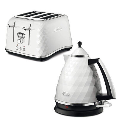 DeLonghi Brillant Kettle and  Slice Toaster Kitchen White January Sale Cheap