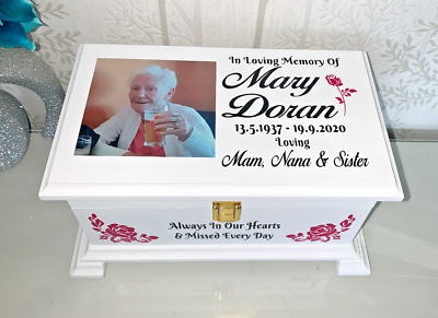 Ashes Casket Lock & photo Lid Personalised Urn memorial box