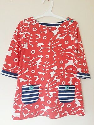 Gorgeous Mini Boden Dress Age 5-6 In Vgc! Red, Blue, Floral