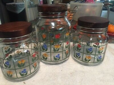 VINTAGE CLEAR GLASS Kitchen Canisters Wooden Lids Flowers Red Yellow Blue  Green